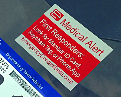 Emergency Contact Data Alert Decal for windshields and windows.