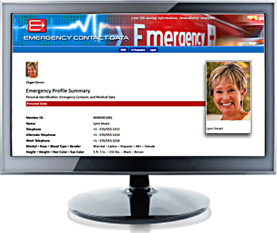 Online personal medical record access in case of an emergency.