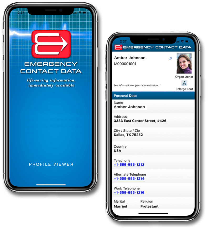 Emergency Medical Health Records on mobile app for Android and Apple phones.