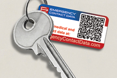 Keychain tags with member ID and QR code for emergency personal medical record access.