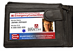 Place the Emergency Contact Data Photo ID in the ID holder of your wallet.